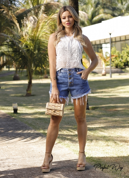 BLUSA PLANA RENDA + TOP - PERFECT WAY