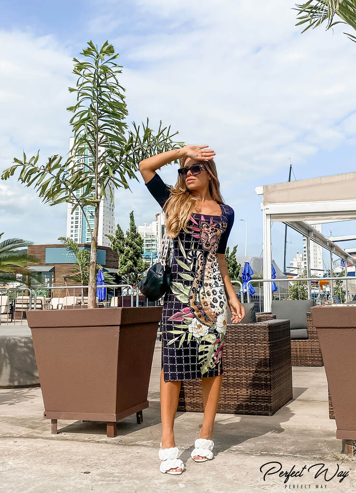 vestido midi estampa exclusiva  - PERFECT WAY