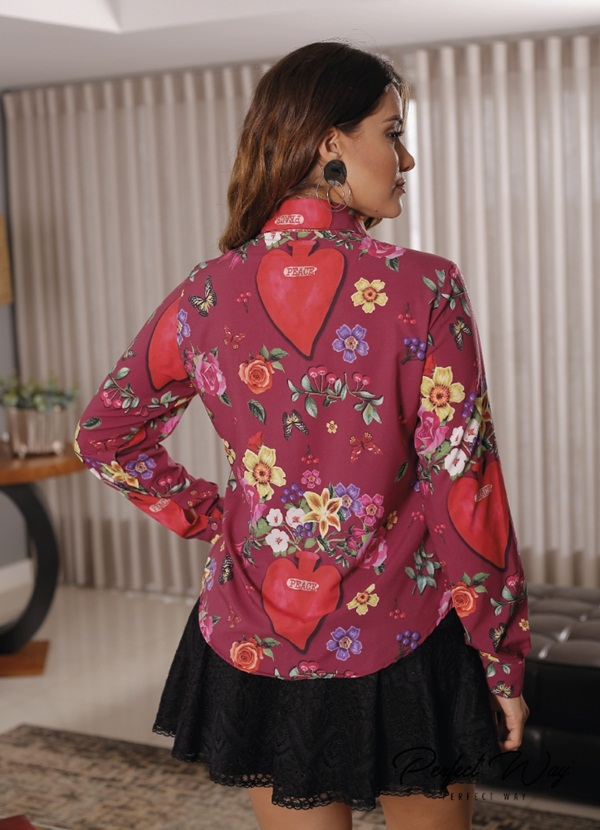 CAMISA ML. EST. EXC. FLORES + BROCHE PERFECT WAY