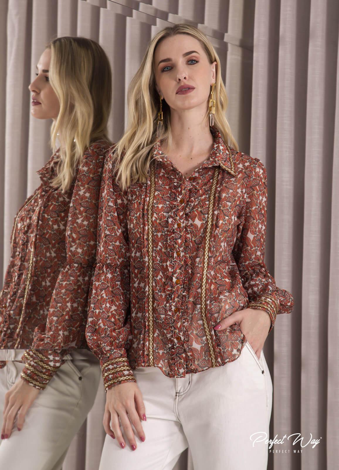 camisa com recorte  estampado  PERFECT WAY