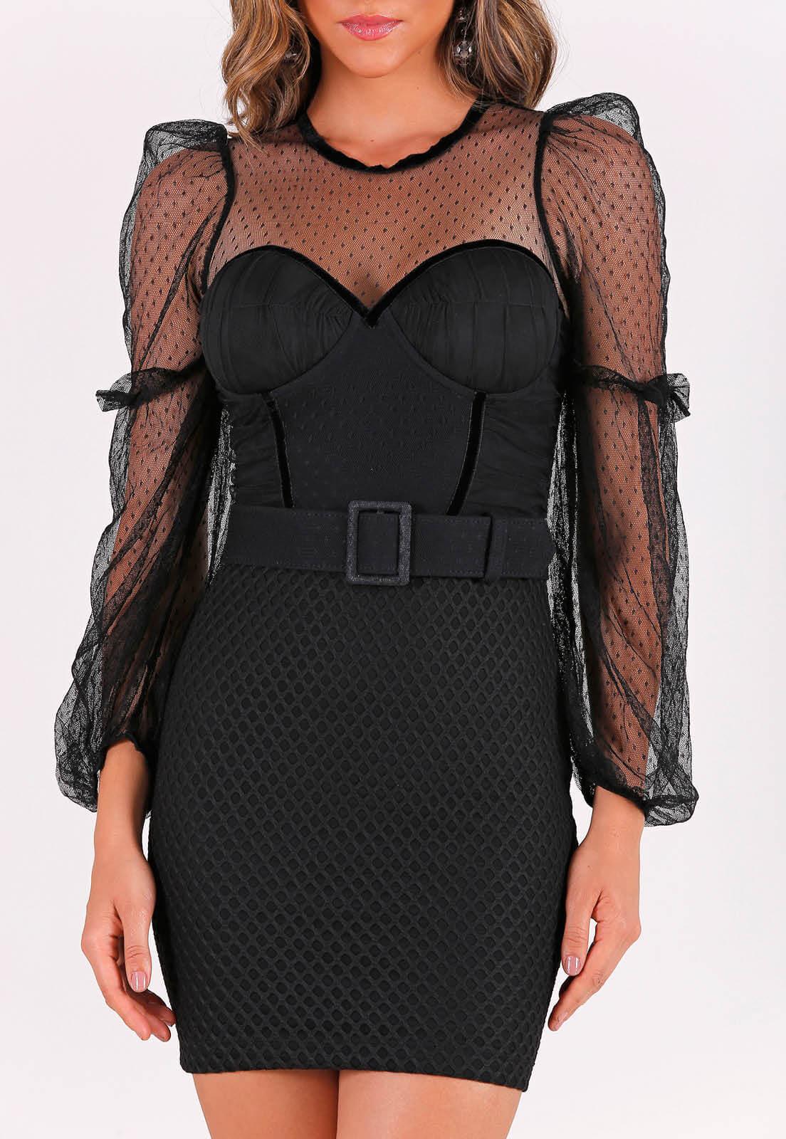 vestido com recortes de tule + cinto PERFECT WAY