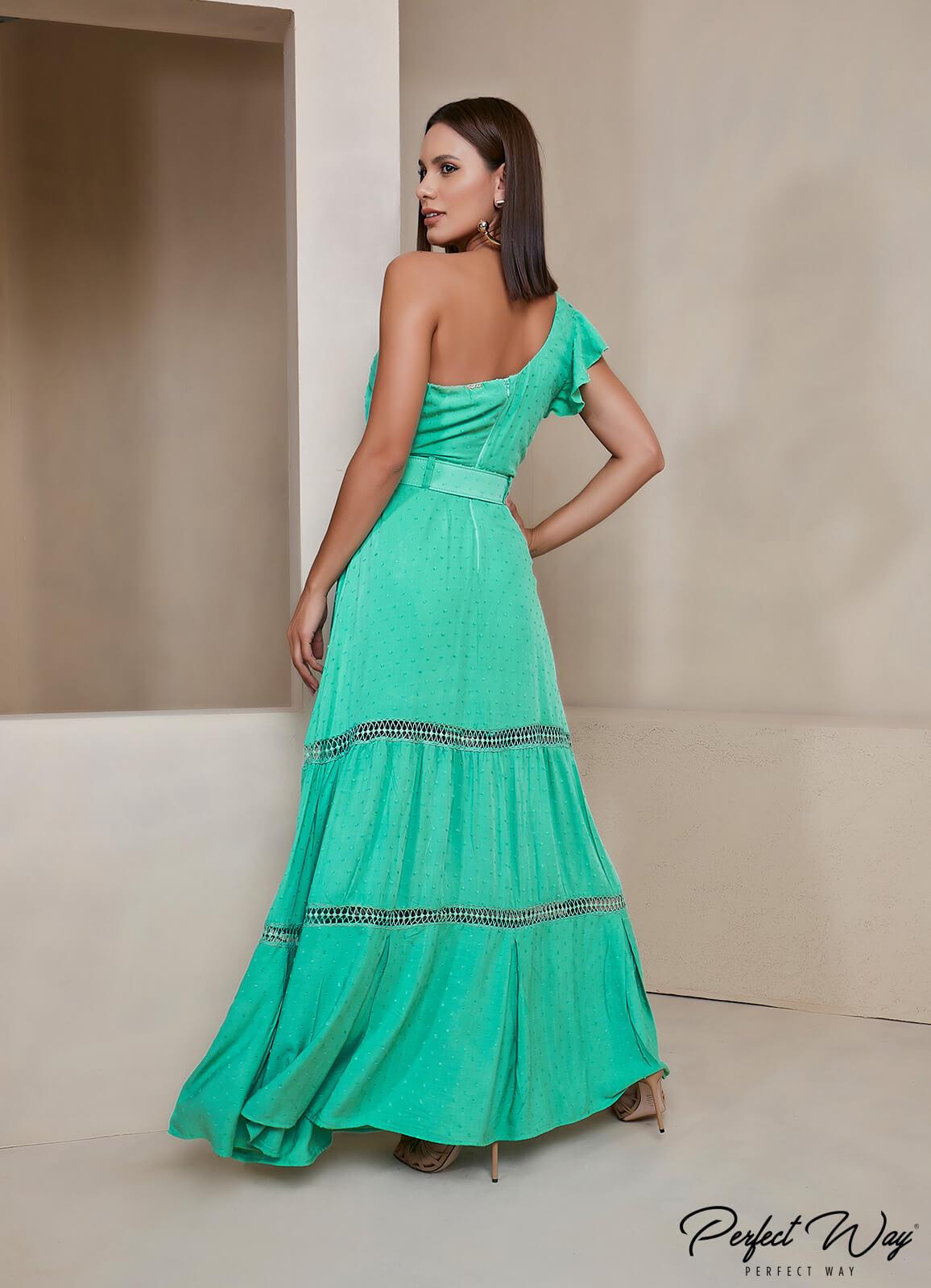 vestido longuete com detalhes + cinto PERFECT WAY