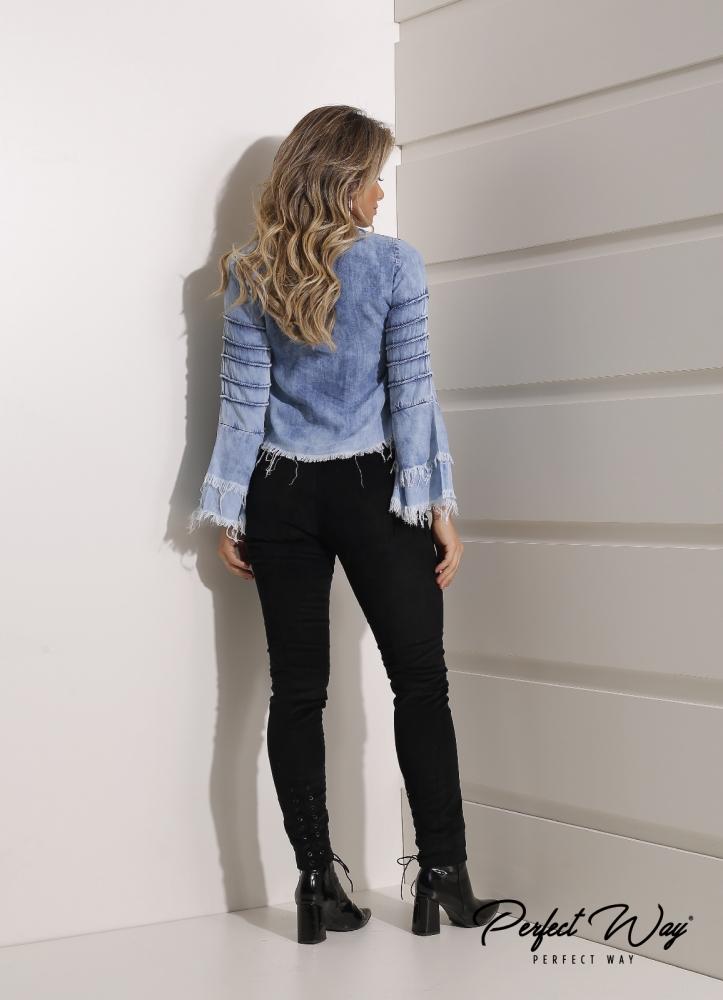 bata jeans com manga flare com nervuras PERFECT WAY