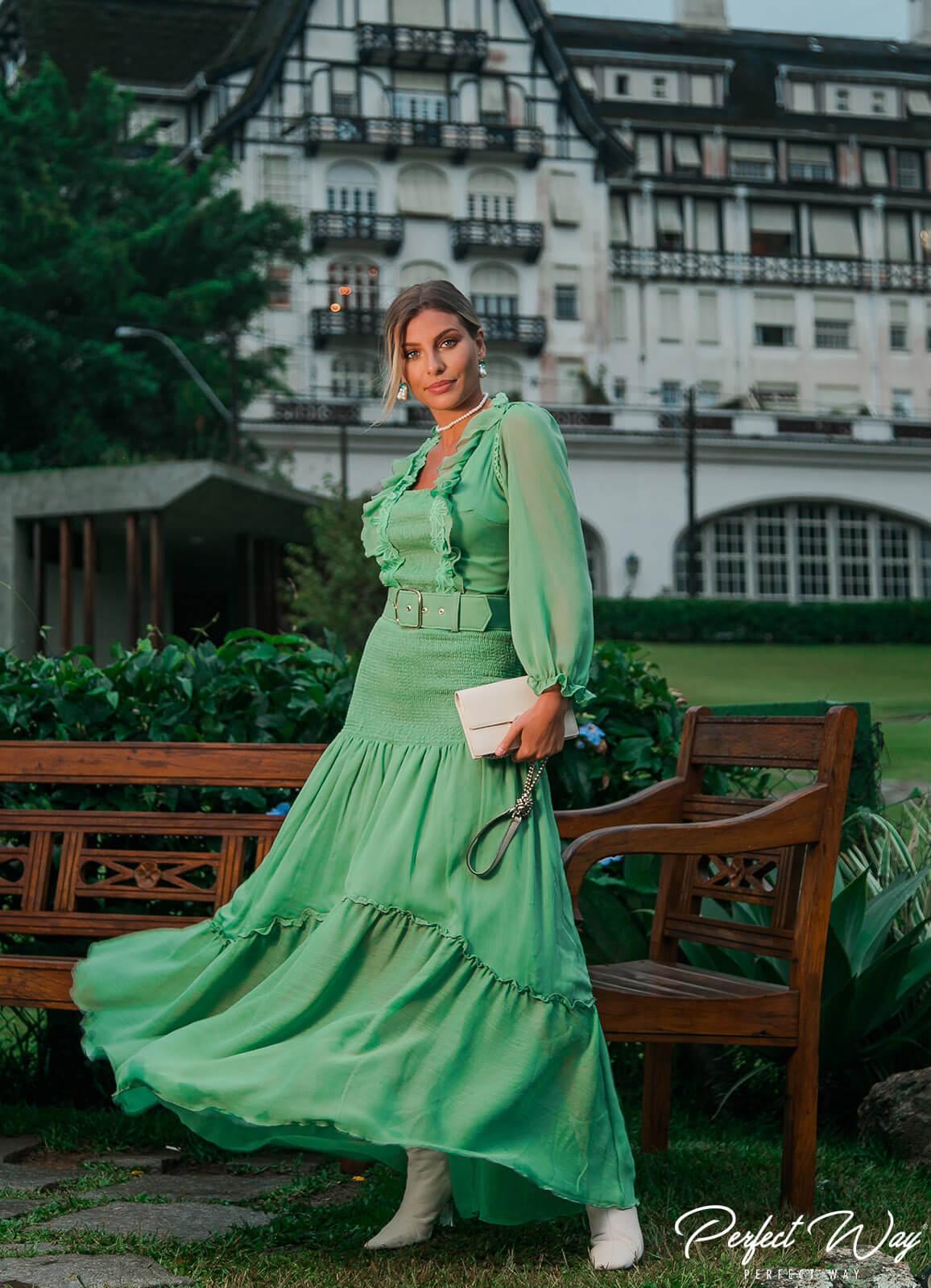 vestido longo c/detalhes+ cinto - PERFECT WAY