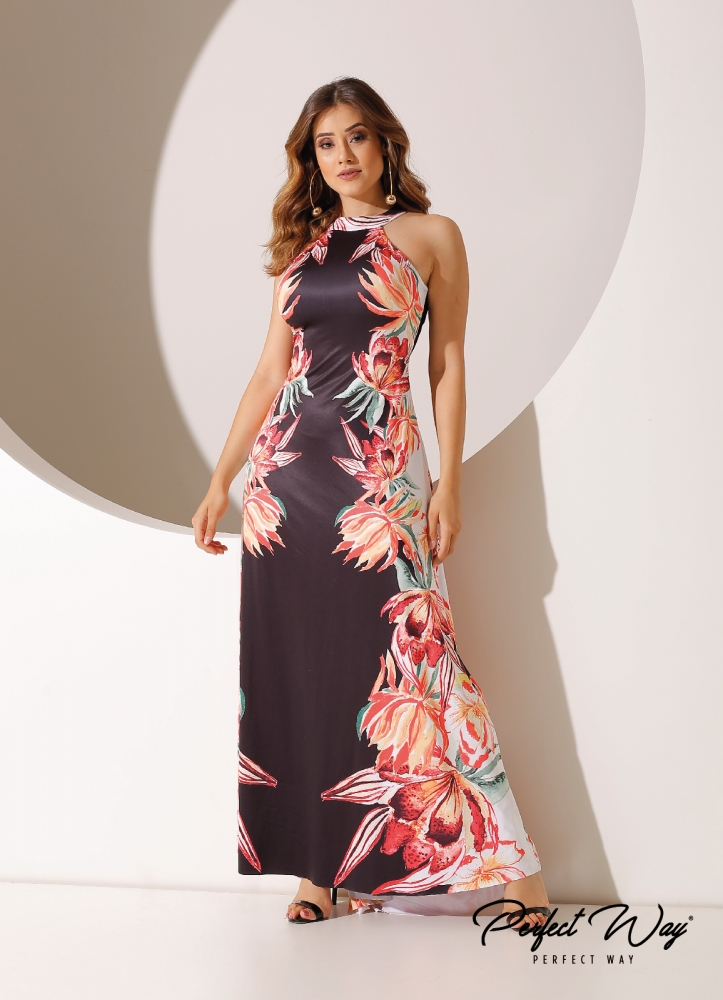 VESTIDO LONGO  EST. EXC. FLORAL - PERFECT WAY