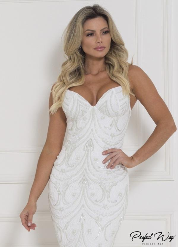 vestido curto de renda com frente bordada - PERFECT WAY
