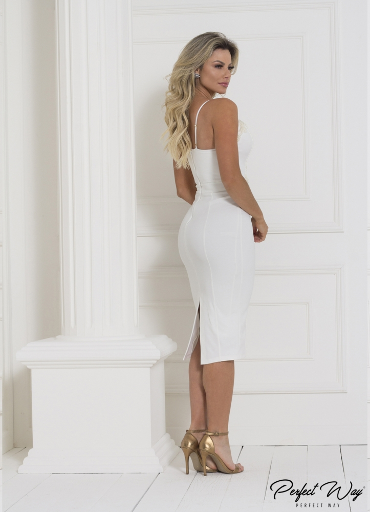 vestido MIDI tela e guipure bordado PERFECT WAY