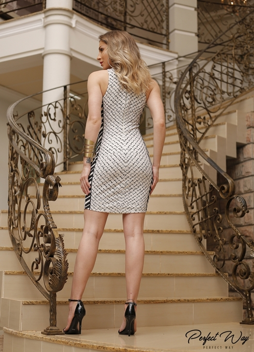 VESTIDO EST. EXC. CURTO ESTAMPA COM PENAS PERFECT WAY