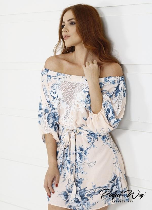 vestido CURTO est. exc. guipure no decote /FLORAL + CINTO PERFECT WAY