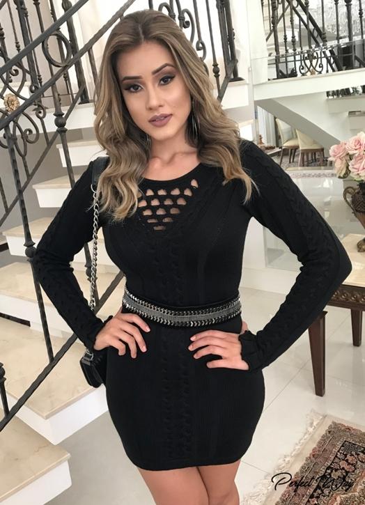 vestido de trico ml + cinto bordado PERFECT WAY