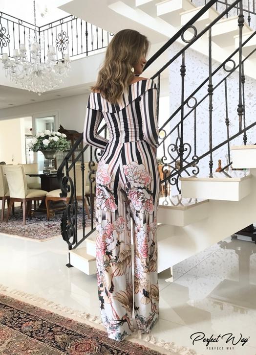conj. est. exc. cropped + calÇa pantalona com barrado PERFECT WAY