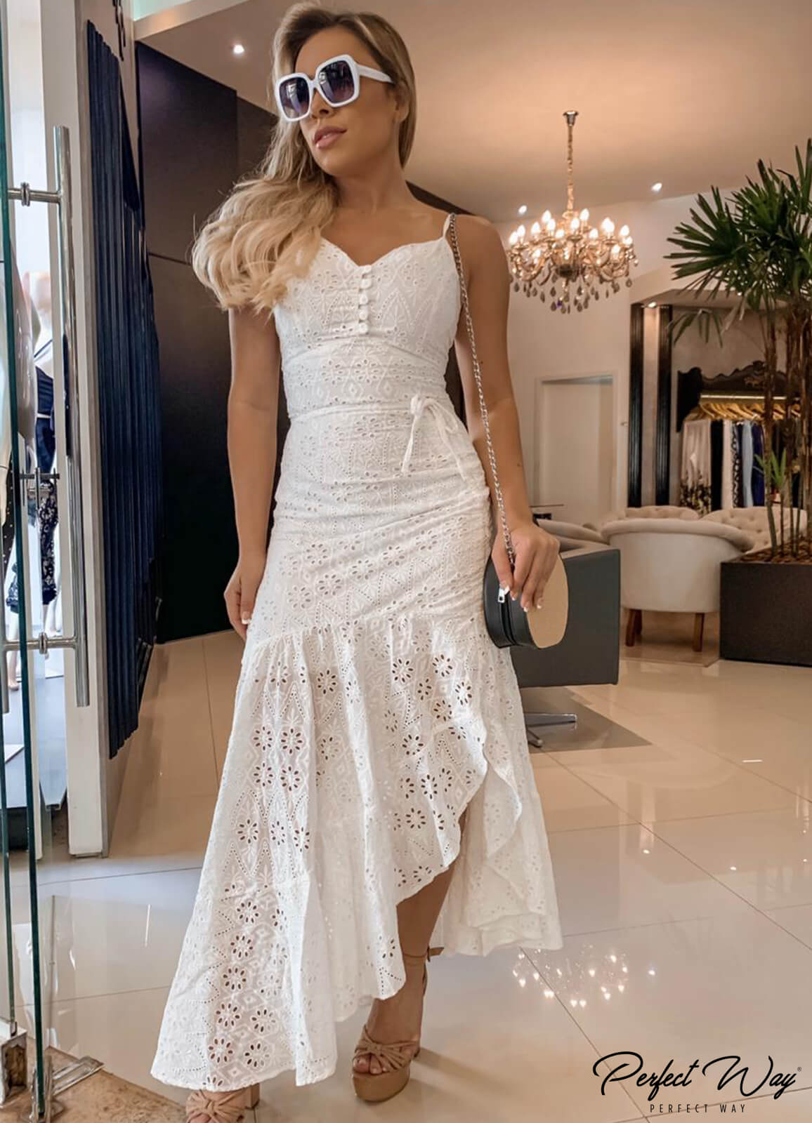 vestido longo de laise