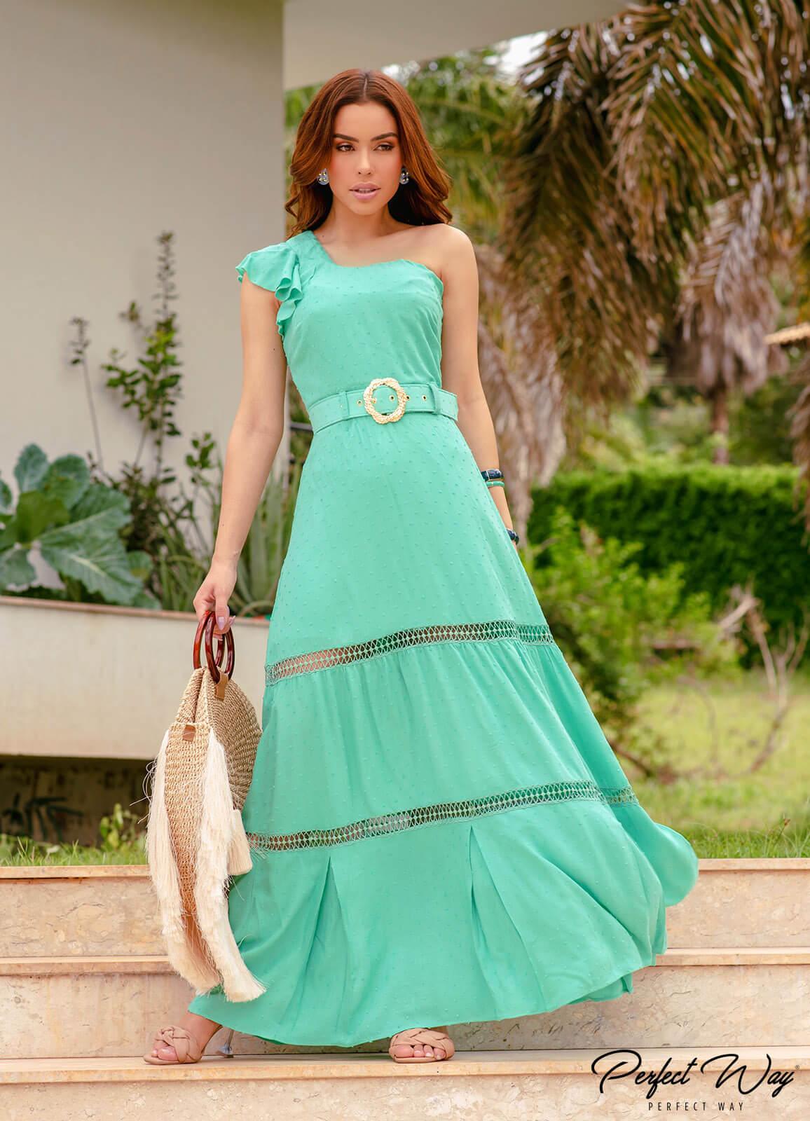 vestido longuete com detalhes + cinto - PERFECT WAY