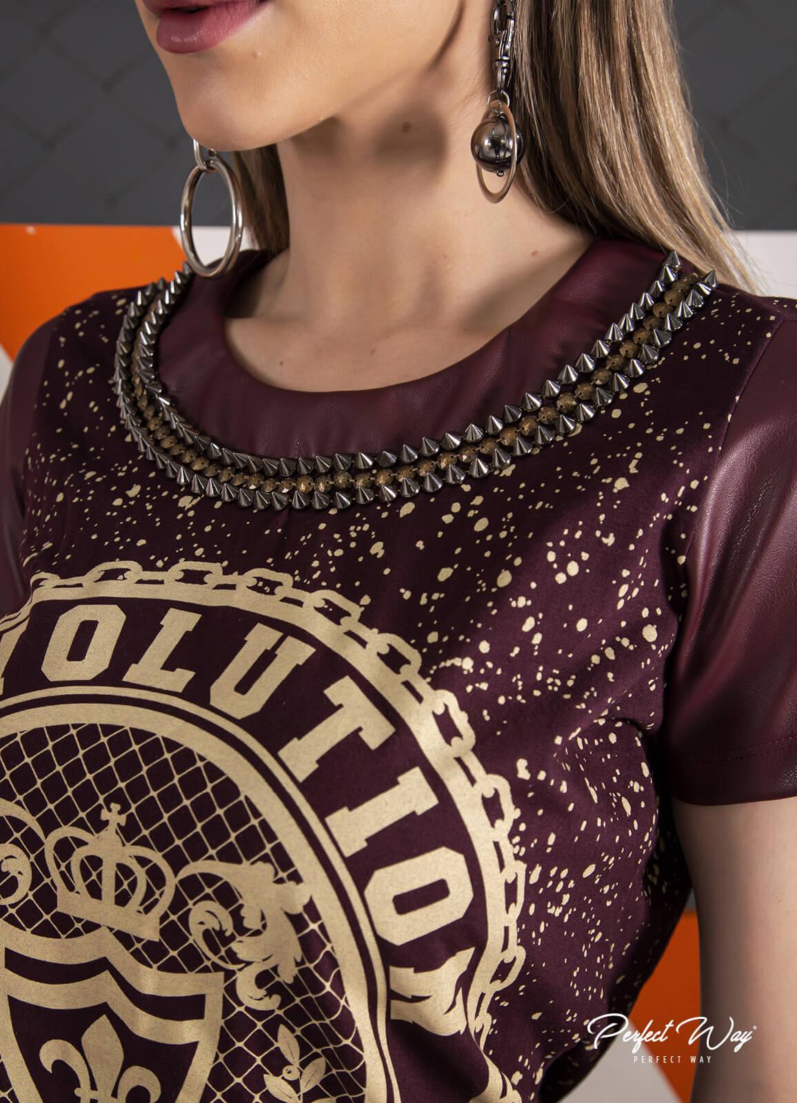 T SHIRT COM MANGA sintético + ESTAMPA EXCLUSIVA bordado  PERFECT WAY