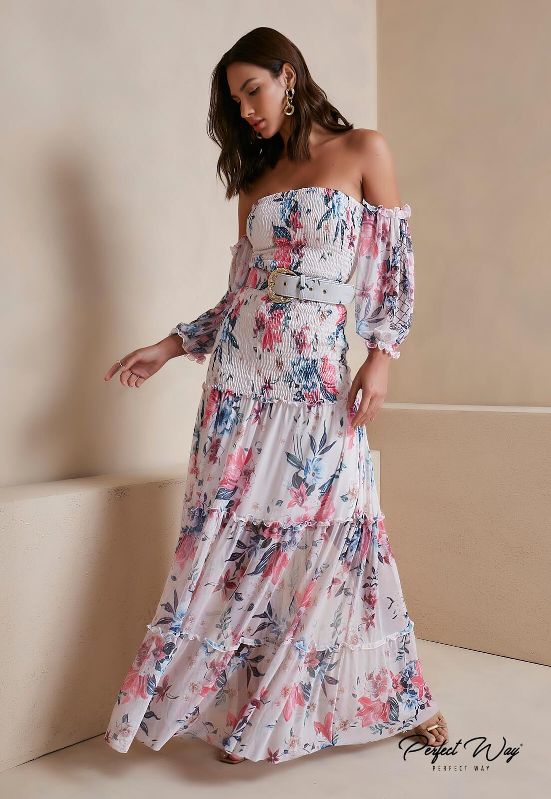 vestido estampa exclusiva floral + cinto - PERFECT WAY