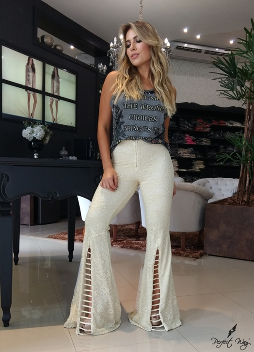 Perfect Way - CALÇA FLARE RENDA
