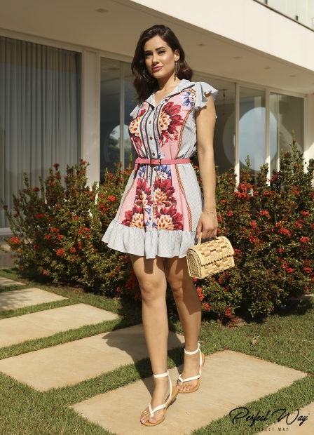 Perfect Way - VESTIDO SOLTINHO EST. EXC. FLORAL + CINTO