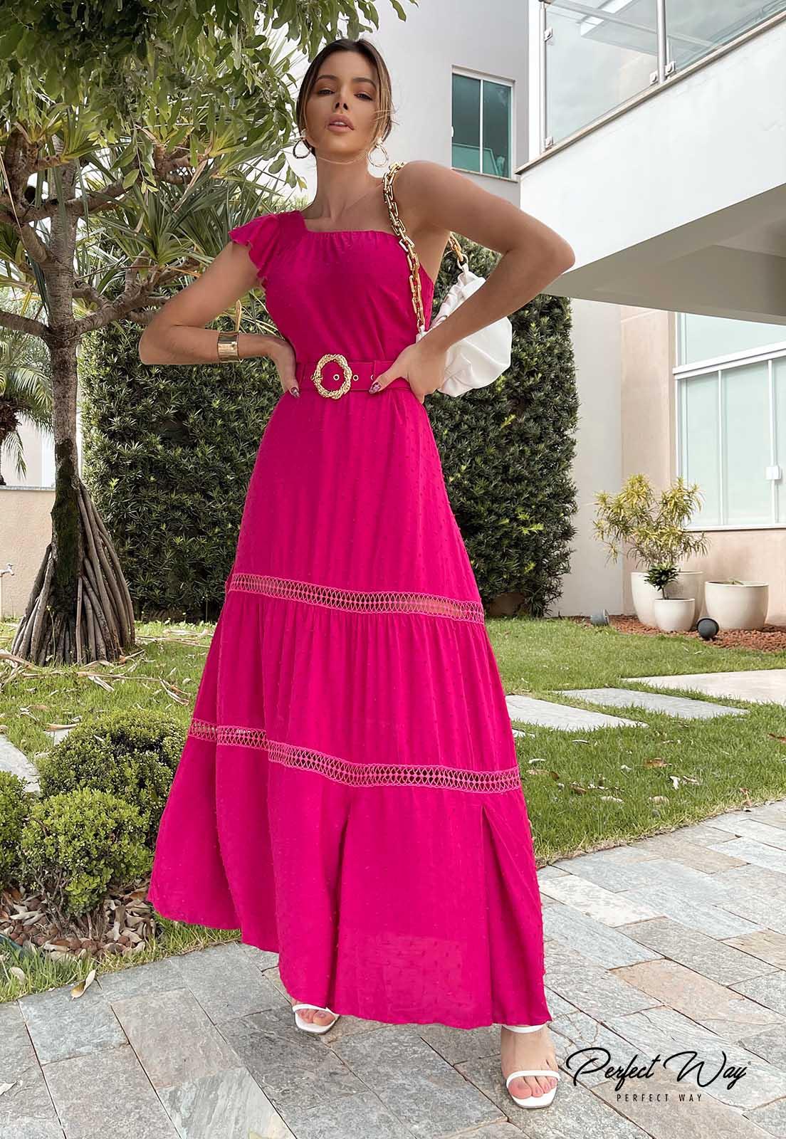 Perfect Way - vestido longuete com detalhes + cinto