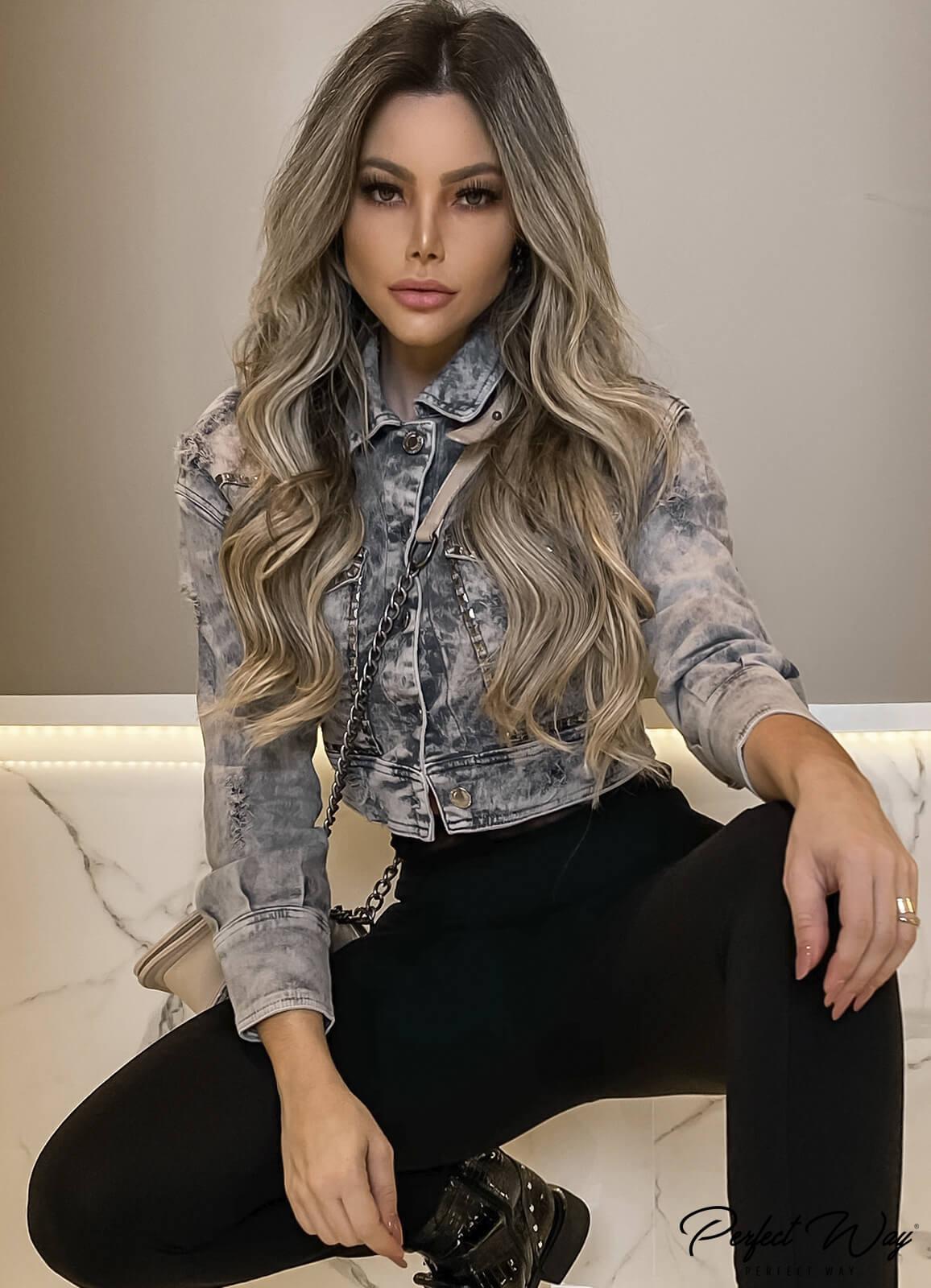 Perfect Way - JAQUETA jeans COM BORDADO BOLSOS