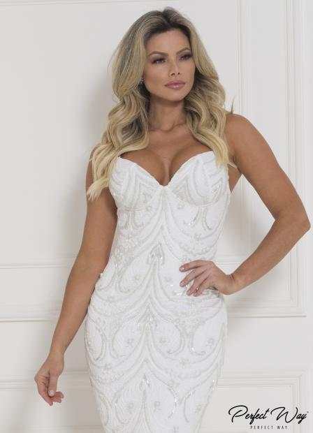 Perfect Way - vestido curto de renda com frente bordada