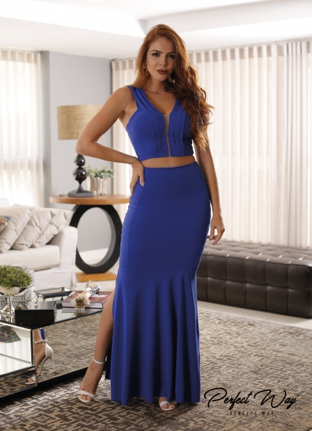 Perfect Way - CONJUNTO CROOPED com decote em tule e saia longa