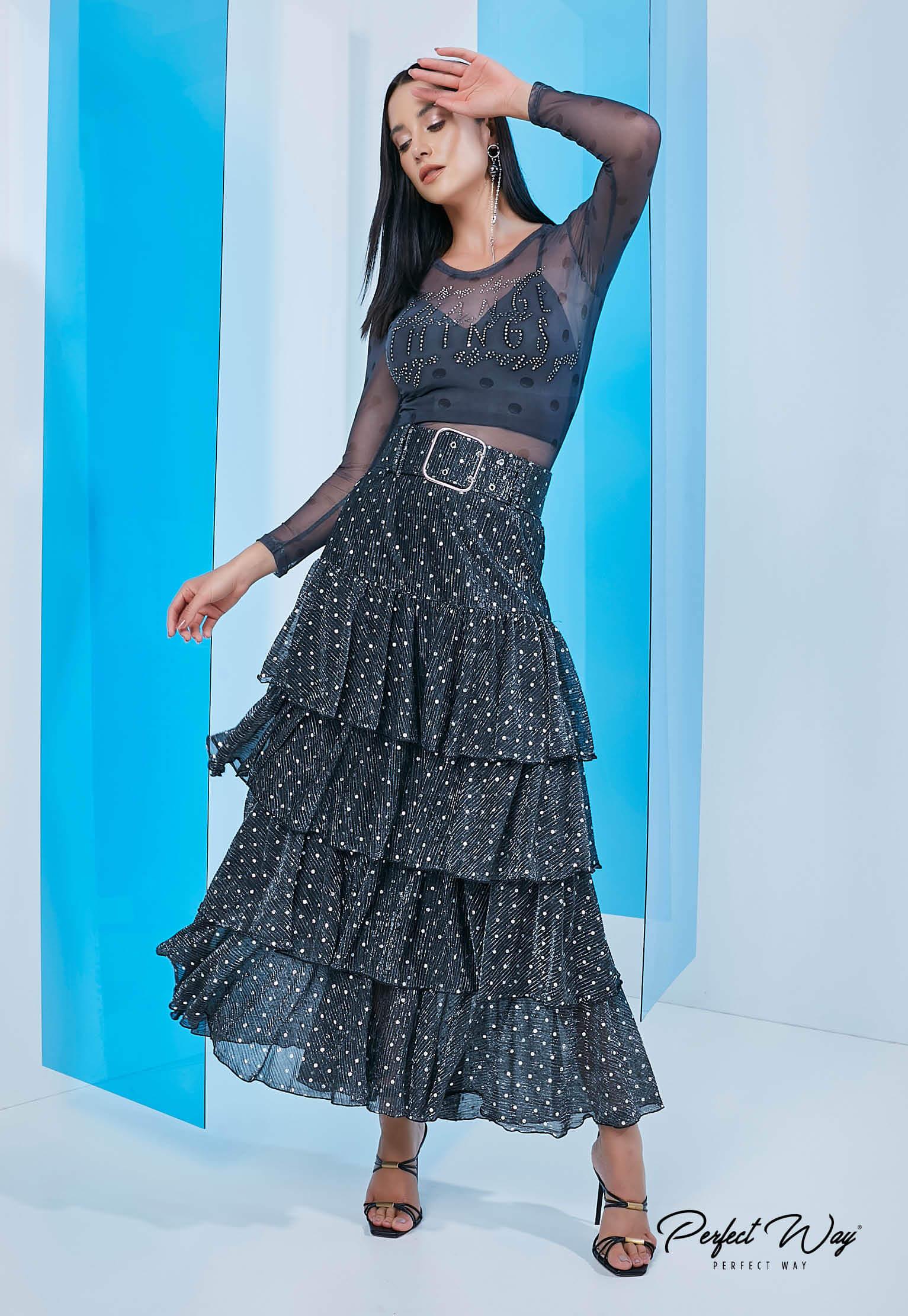 Perfect Way - CONJUNTO blusa estampa exclusiva + SAIA longuete com cinto