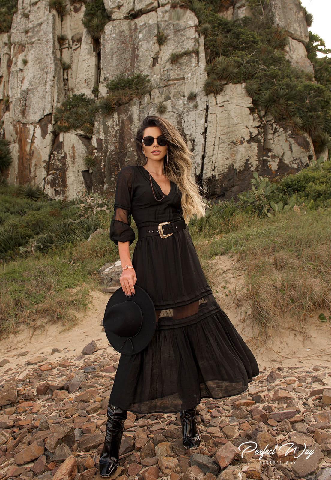 Perfect Way - vestido renda  chantilly e tule + cinto