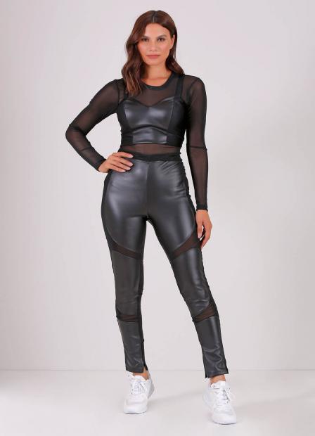 Perfect Way - CONJUNTO CROPPED RECORTE DE sintético + blusa DE TULE + calça