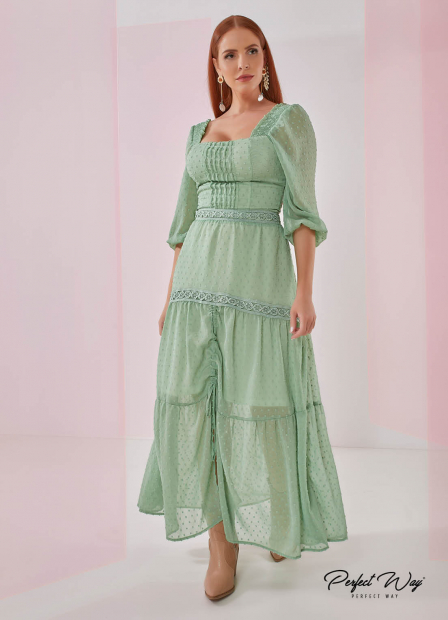 Perfect Way - vestido longuete detalhe guipure