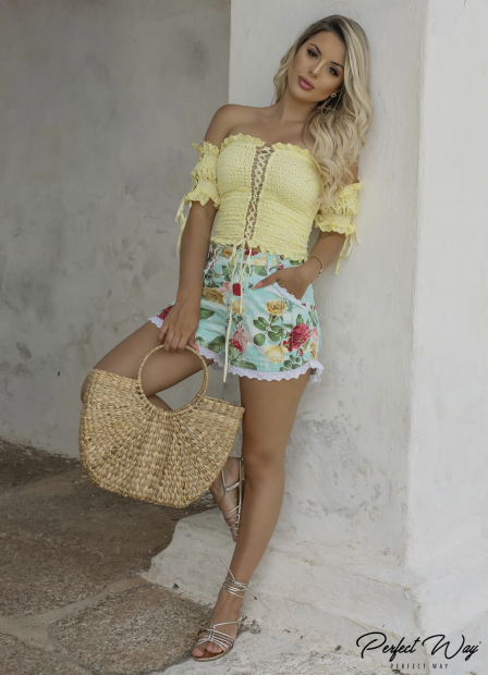Perfect Way - CONJUNTO CROPPED + SHORTS EST. EXC. FLORAL