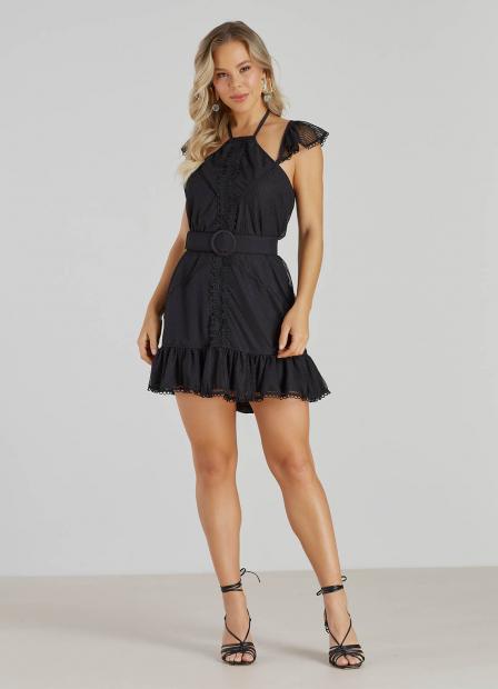 Perfect Way - vestido solto com recorte guipure