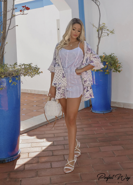 Perfect Way - CONJUNTO EST. EXC. BLUSA + SHORTS + KIMONO FLORAL BORDADO