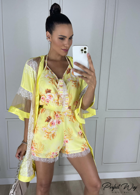 Perfect Way - colete kimono detalhes em renda