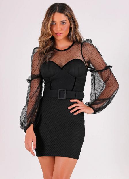 Perfect Way - vestido com recortes de tule + cinto
