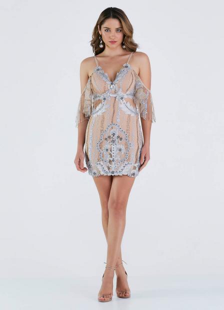 Perfect Way - vestido tule rendado bordado