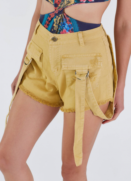 Perfect Way - SHORTS JEANS CÓS ALTO COM FAIXAS