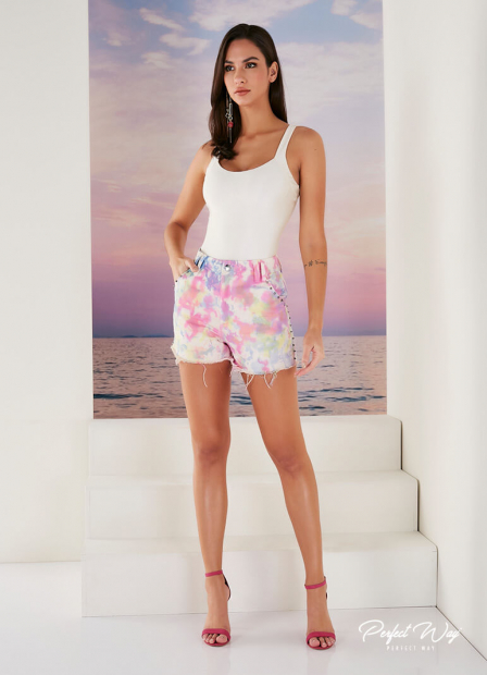Perfect Way - shorts de sarja tie dye