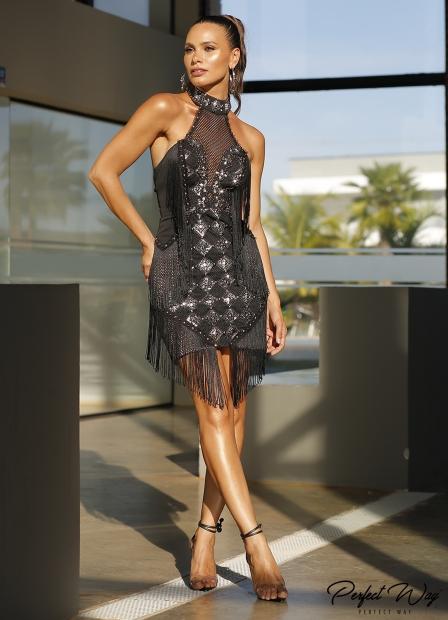 Perfect Way - vestido de guipure com frente bordada com franjas