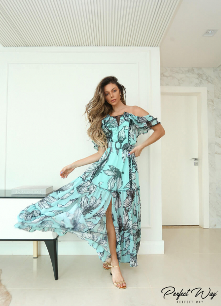 Perfect Way - VESTIDO LONGO ESTAMPA exclusiva + cinto