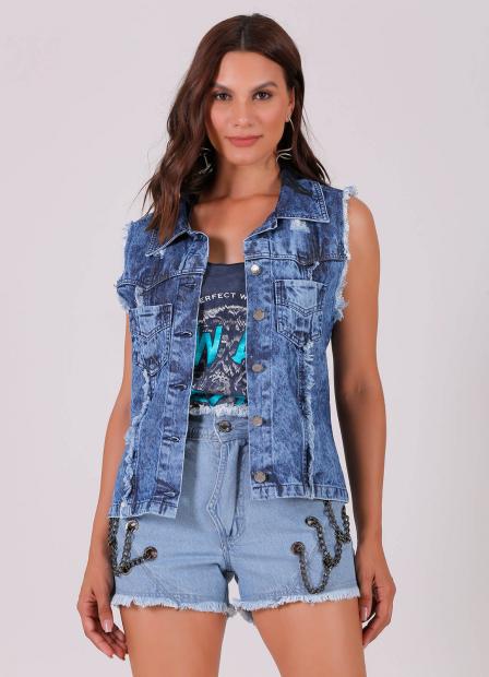 Perfect Way - colete jeans com est. exc. rosa