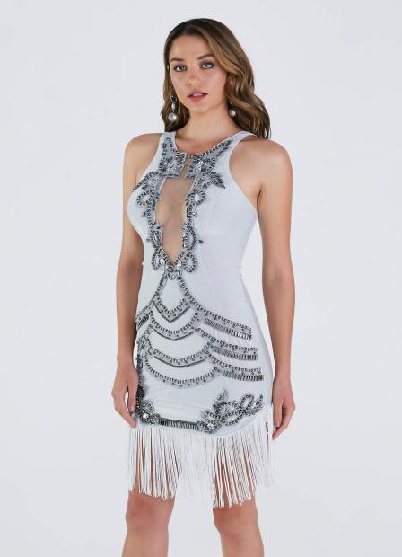 Perfect Way - vestido justo de lurex BORDADO