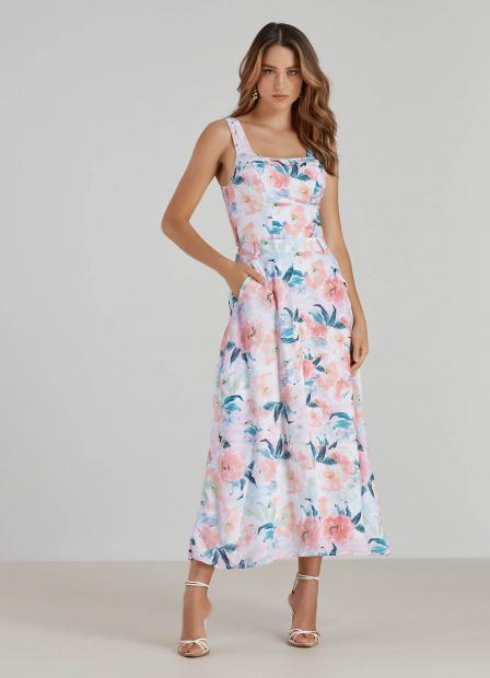 Perfect Way - conjunto saia midi + cropped estampa exclusiva floral