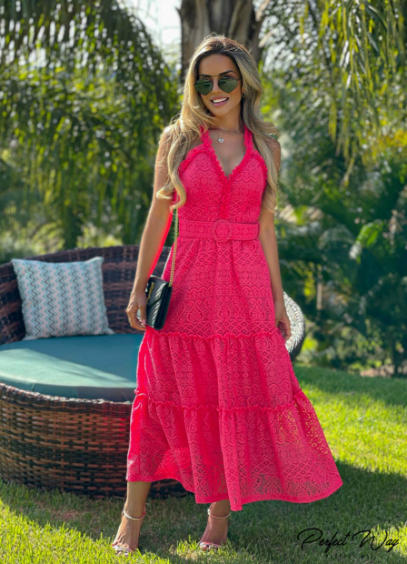 Perfect Way - VESTIDO DE RENDA LONGUETE + CINTO