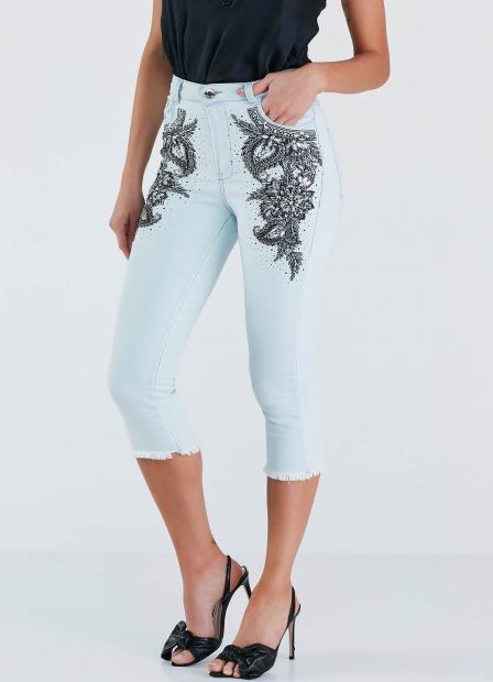 Perfect Way - CALÇA JEANS SKINNY BORDADO