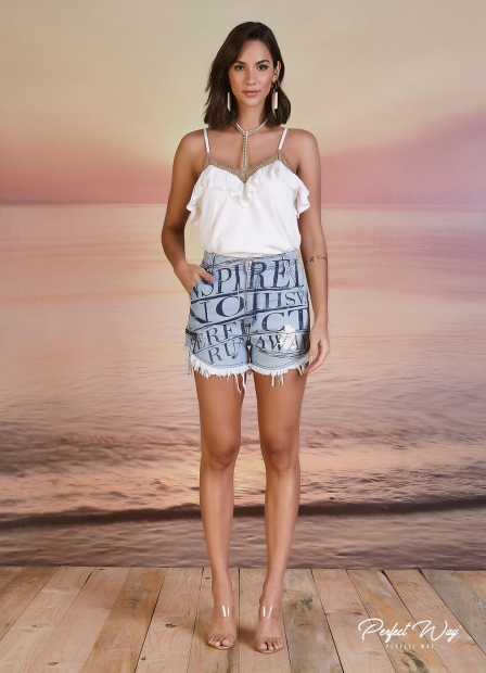 Perfect Way - SHORTS JEANS ESTAMPA EXCLUSIVA