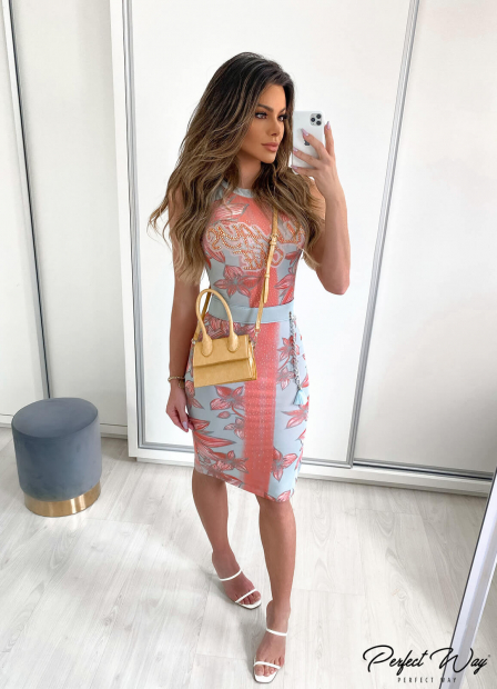 Perfect Way - VESTIDO MIDI ESTAMPADO COM TERMO COLANTE